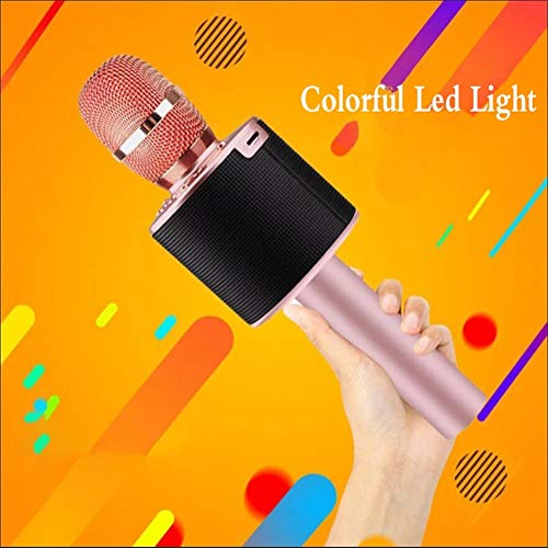 Microfoon, draadloos, draagbaar, draadloos, met lantaarn, telefoon, draadloos, goudkleurig, K Chanson, karaoke-microfoon, karaoke, voor mobiele telefoon, micro karaoke (kleur: roze)