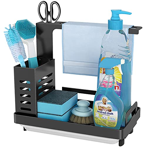 Product Image of the MKO Kitchen Sink Caddy Organizer, Sponge Holder for Sink Stainless Steel Soap Brush Dishcloth Holder with Drain Pan, Freestanding or Wall-Mounted (Black)…