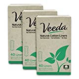 Veeda Ultra Thin Natural Cotton Breathable Daily Liners are Always Chlorine and Toxin Free, Hypoallergenic, 3 Boxes of...