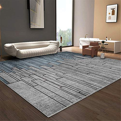 Xiaosua Washable Dining Room Carpet Modern blue gray mosaic geometric rectangular pattern living room bedroom carpet mildew proof anti-allergic Carpets grey 200x280cm