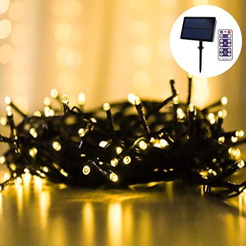 LED Lichterketten, 100er Warmweiß Lichter für Außen Dekoration, Solar Betrieben und Wasserdicht, Automatisches Aufladen, Lichtsensor, Dimmbare Lichterketten mit Fernbedienung und Timer