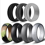 Emperor Tools 7 Pack of Silicone Wedding Rings for Men, Ring with Two