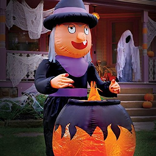 Animated Blow Up Witch with Moving Hand and Cauldron