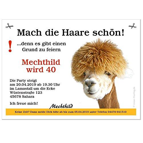Unser-Festtag Geburtstagseinladungen Mach die Haare schön - Personalisiert nach Ihren Wünschen, 20 Karten - 21 x 14,8 cm DIN A5