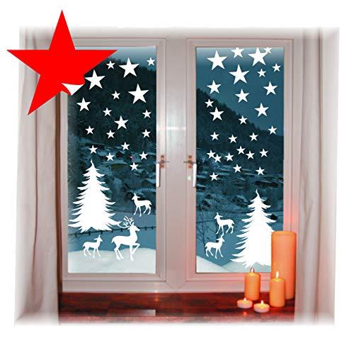 das-label Wiederverwendbare winterliche Fensterbilder weiß Winterwald mit Sterne Weihnachten Fensterdeko ohne transparenten Hintergrund (Winterwald)