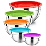 Mixing Bowl Set of 5, HaWare 100% Stainless Steel Nesting Metal Bowls with Airtight Lids, Scale Marks, Heavy Duty & Dishwasher Safe - 5L/ 4L/ 3L/ 2.5L/ 1.5L, Great for Cooking, Baking, Food Storage