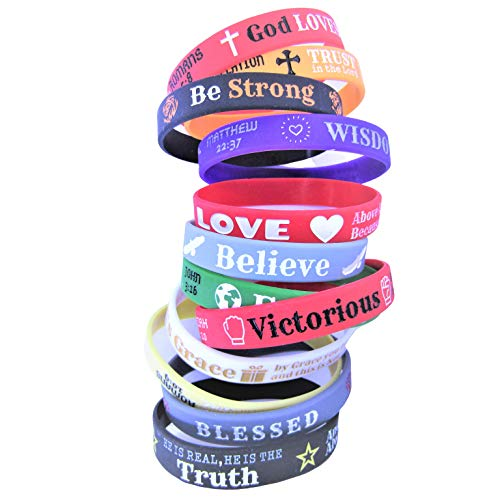 Inspirational Bible Verse Wristbands for Daily Motivation - 12 Pack Variety of Silicone Stretch Christian Bracelets with Popular Scriptures for Men, Women, Teens and Children. Perfect Religious Gift.