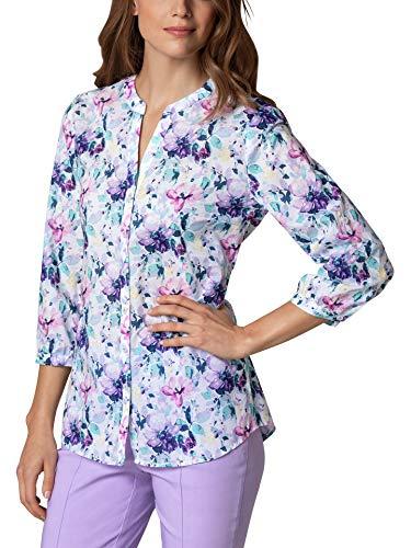 Walbusch Damen Portofino Baumwoll Bluse Gemustert Blumenprint 36 - Kurzarm