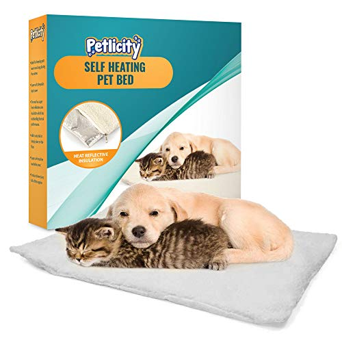 Petlicity  Self Heating Pet Bed – Super Soft Non Slip Sheepskin Self Warming Cushion Mat for Cats Dogs Small Pets with Thermal Warming Body Heat Reflecting Core Pad and Washable Zipped Fleece Cover
