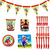 Super Mario de Accesorios de Fiesta Reutilizable Accesorio de Decoracion de Fiesta de Cumpleaños Apoyo para Pancarta Vajilla para Party Supplies