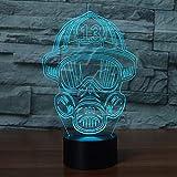 XDOUBAO Bombero Bombero camión acrílico 7 Colores Escritorio lámpara lámpara 3D Novedad Noche luz-Azul