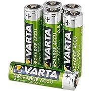 Varta Batteria Ricaricabile AA Stilo, 2100 mAh, Confezione da 6 Pezzi, Pre-caricate, Pronte all'Uso