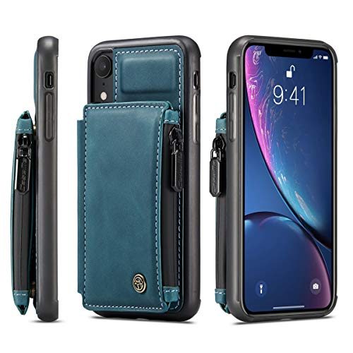 Protective Case for XR iPhone,TACOO Durable Kickstand Girl Cover Men Sturdy Boy Gift Zipper Card Cash Slot Case Soft Leather Bulky Unisex Women Back Cardholders Shell