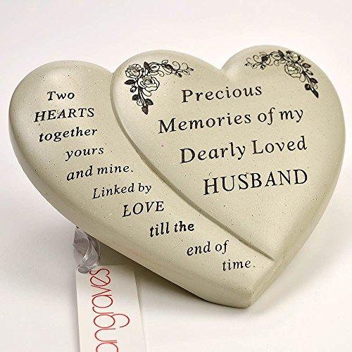 Angraves Husband Double Heart Flower Graveside Memorial Ornament Verse Plaque