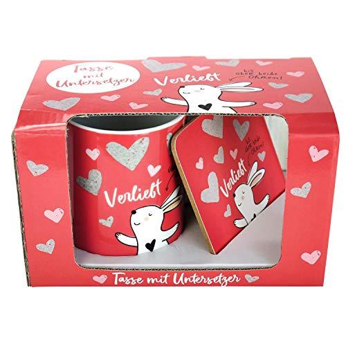Happy Life 45339 Coffret cadeau avec tasse et soucoupe en porcelaine Rouge/blanc