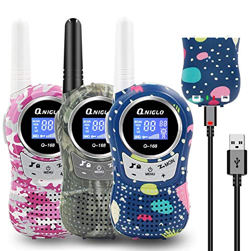 Rechargeable Kids Walkie Talkies 3 Pack, 22 Channel FRS Walkie Talkies for Kids,Best Two Way Radio Toys Gifts for 3-12 Years Boys and Girls,Family