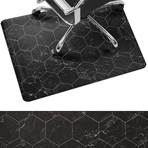 Bodenschutzmatte Black Marble | kratz- und rutschfeste Unterlage für Hartböden | besonders geeignet für stark beanspruchte Bereiche | Design Schwarz Marmoroptik (73,5 x 91,5 cm)