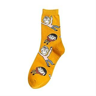 QZF, Calcetines de longitud media chica calcetín otoño e invierno medias de algodón de dibujos animados calcetines 3 pares Código promedio Amarillo