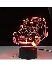 Auto Vintage Auto Cool 3D Lamp 2cv 3D Illusie LED Nachtlampje voor Decoratie Kind Volwassen Kamer Kantoor Decor Licht Nee Controller 7 Kleur Verandering 3D-4633