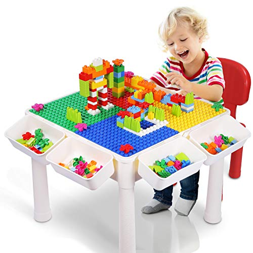 SNAEN Multipurpose Activity Table Set for Kids Building Drawing Reading Dining  Toddler Play and Learn Desk with 1 Chair and 4 Storage Boxes – Primary Colors for Boys and Girls 3 150PCS Bricks