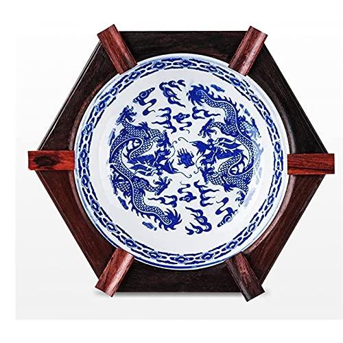 KMDJ Cenicero de cerámica con Base de Madera Maciza Hexagonal Antiguo clásico de Escritorio clásico