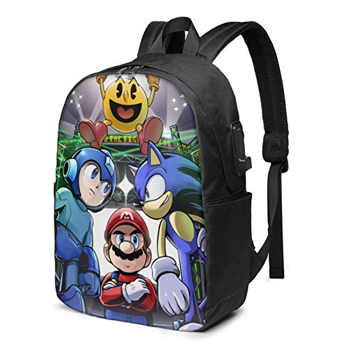 Super Smash Bros Mario Sonic Mega Man Zaino Business Viaggi Scuola con Cavo di Ricarica USB Interfaccia Auricolare Grande Capacità Adatto Computer Portatile 13-17 Pollici Notebook