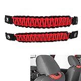 buyinhouse 2pcs/Set Grab Handles for Jeep Wrangler JK TJ - Black/RED Rear Seat Safety Grab Padded roll Bars