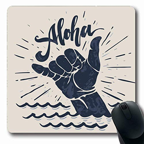 Mousepads für Computer Längliche Form Lebensstil Surfen Aloha Schriftzug Surfen Shaka Handgravur Abstrakt Vintage Surfer Wave Board Rutschfest Oblong Gaming Mouse Pad
