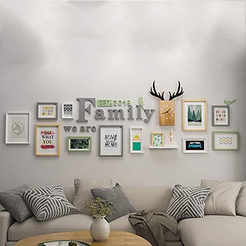 WFGY Eenvoudige moderne woonkamer foto muur decoratie, composiet bank muur massief hout fotolijst, totale grootte 3180 * 825mm