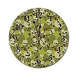 AEMAPE Reloj de Pared Redondo de Camuflaje, composición Militar de Calaveras, Cabeza de Miedo, Esqueletos, Soldados, Reloj con Pilas Grunge