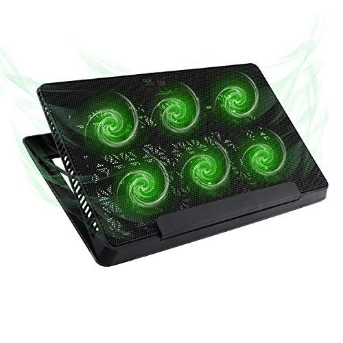 MoKo Laptop Cooler, Notebook Cooling Pad Adjustable Speed Cooler Silent Gaming Laptop Radiator with Adjustable Stand, 6 Fans, Green LED Lights, Dual USB Ports for 12-15.6 Inch Laptop - Black