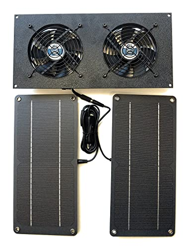 Coolerguys 10W Solar Powered Dual Fan Kit for Small Chicken Coops, Greenhouses, Doghouses, Sheds, and Other Enclosures