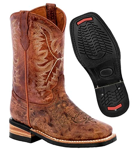 Kids Distressed 9 Toddler Western Cowboy Boots Real Leather Square Toe Pull On 9 Toddler Cognac