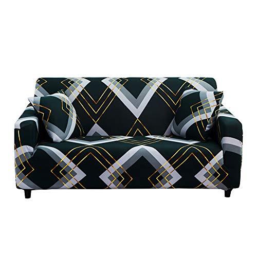 Hotniu Funda Sofa Elasticas 2 Plazas Fundas de Sofa Ajustables Fundas Decorativa para Sofá Estampadas Impresa Cubre Sofa con 1 Funda de Cojín, Patrón Cllx