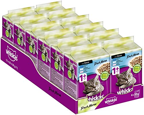 Whiskas Fresh Menue 1 + Katzenfutter – Fisch-Auswahl in Sauce – Hochwertiges Nassfutter für gesundes Fell – 72 Portionsbeutel à 50g
