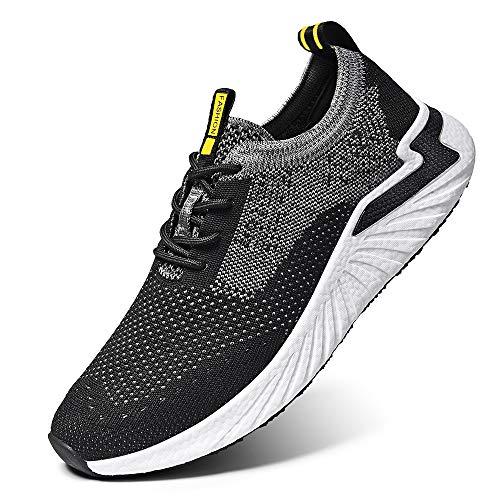 LK LEKUNI Zapatillas Running Hombre Mujer Zapatos Deporte para Correr Trail Fitness Sneakers Ligero Transpirable-Negro02-42