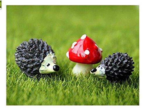 Ndier Miniatura de jardín con forma de erizo y setas