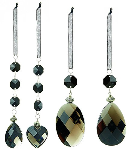 Premier Pack of 4 - Assorted Black Ombre Acrylic Gem Tree Hangers - Perfect Christmas Decoration