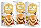 Body Attack Protein Pancake Mix, Eiweißpulver für Pfannkuchen mit 35% Protein, schnell und leicht abnehmen mit der Low Sugar Backmischung (Buttermilch mit Haferflocken, 3 x 300g) -