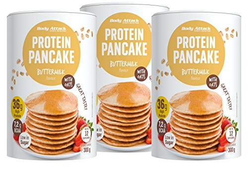 Body Attack Protein Pancake Mix, proteína en polvo para tortitas con 35{3c8b1e5bb567a3aa0cb16ebb347cd1f9cf4eec632e212a461757752d5a6cf8bd} de proteína, rápida y fácil de quitar con la mezcla baja de sugar (leche de mantequilla con copos de avena, 3 x 300 g)