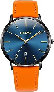 Women Oversized Minimalist Watches - Orange/Tan Boyfriend Style Waterproof Date Leather Watches Strap for Girls Casual Bithday Gifts, Unisex