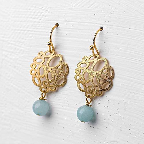 Ohrringe mit Amazonit-Perle türkis-gold, vergoldete Ohr-Hänger, Edelstein-Schmuck, leicht, zierlich, blau, handmade Geschenk für Sie