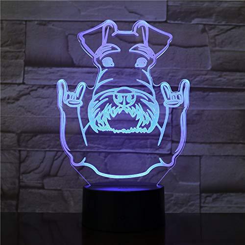 sanzangtang LED Nachtlicht 3D-Vision-Sieben-Farben-Fernhunderasse Portrait Nachtlicht Schnauzer Tier- und Felsgestendekoration Farbwechsel Moderne TischleuchteNachtlicht