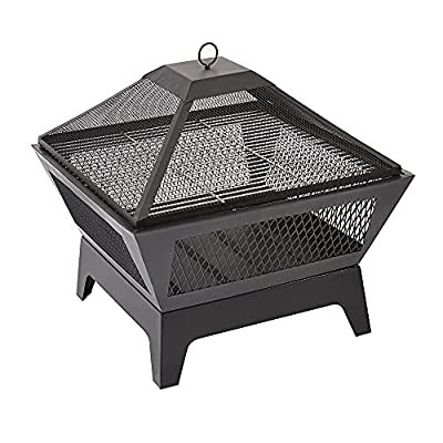 Trueshopping Black Square Outdoor Steel Fire Pit with Mesh Lid - Basket Bowl Fireplace Brazier - Log, Wood & Charcoal Burner Garden Patio Heater - Grill and Poker Included by Trueshopping