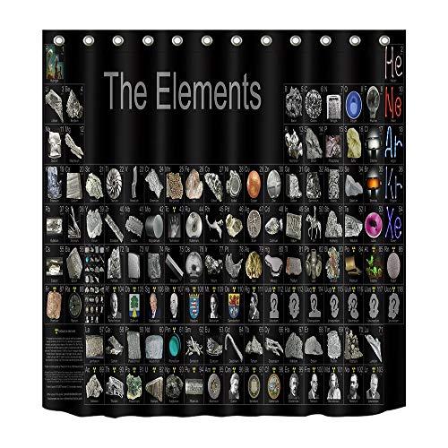 LB Periodensystem der Elemente,Berühmtheit Bild,schwarzer Hintergrund/150W x180H cm Schimmel resistent Polyester Stoff Badezimmer Dekor Bad Vorhang,Haken enthalten