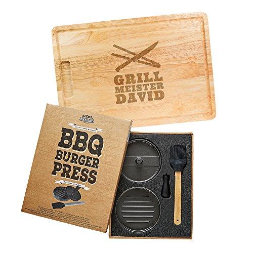 Kitchen Rockstars 2er Grillset – Burgerpresse mit Beschichtung – Schneidebrett mit Gravur – Personalisiert mit [Namen] – Grillmeister und Grillbesteck – Geschenke für Männer – Vatertagsgeschenke
