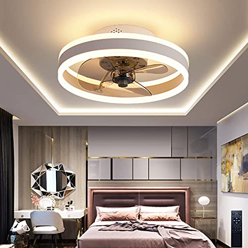 Ventilador De Techo Con Luz Lámpara LED Regulable Moderna Con Mando A Distancia Velocidad De Viento Ajustable De 6 Velocidades Ventilador Silencioso Luz Plafón Para Sala De Estar Dormitorio Comedor