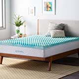 Linenspa LS30TT30CSGT 3 Inch Convoluted Gel Swirl Memory Foam Mattress Topper - Promotes Airflow - Relieves Pressure Points - Twin