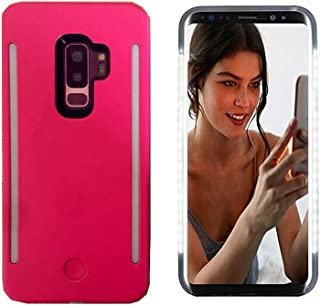 Selfie Led Light Case for Samsung S9 Plus,LNtech Rechargeable LED Light Up Flash Lighting Front and Back Lights Selfie Case Illuminated Cover (Pink, Samsung S9 Plus)