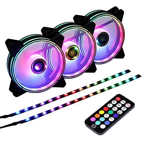 Ubanner DS 120 MM Rainbow RGB Case Ventole per PC Case, Torre Piena, Torre Centrale,LED Fans (3 pz Ventole LED e 2 pz Striscia LED, Controller RF, Serie B)